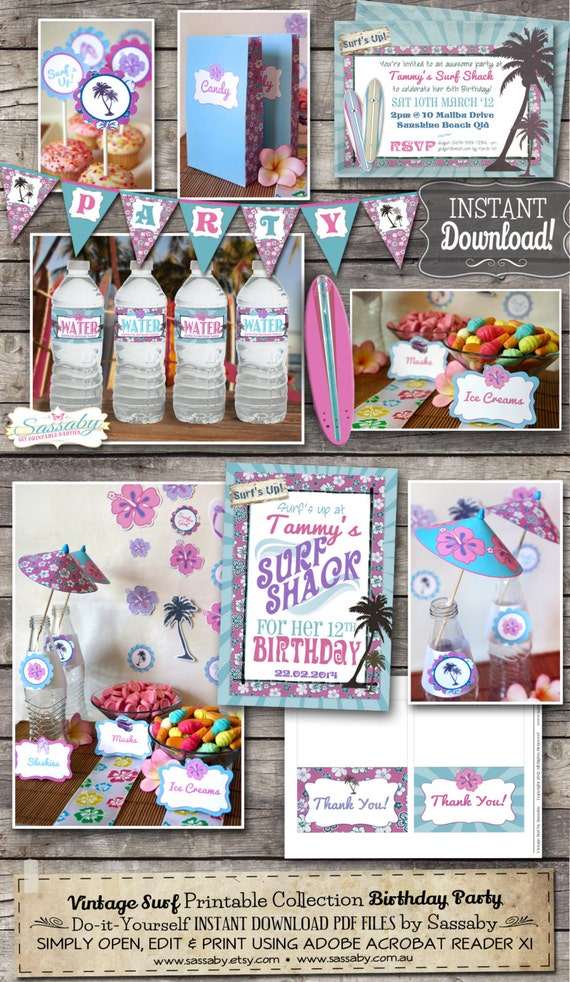 Vintage Surfer Girl Party Collection - INSTANT DOWNLOAD - Editable & Printable Birthday Party Decorations by Sassaby