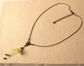 Golden and yellow flower necklace - christmas gift for women - Art nouveau french