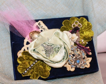 Velvet Jewelry Case Decorated with Vintage Flowers and Charms