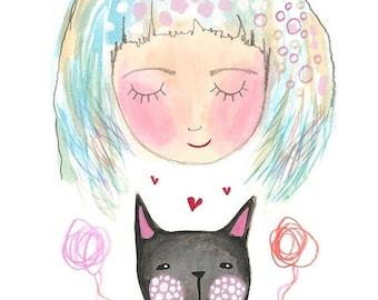 Black cat girl print i love cats art painting