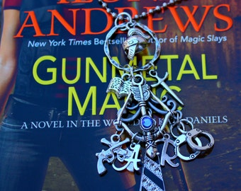 Gunmetal Magic Charm Necklace - Andrea & Raphael - Kate Daniels Theme Pendant - Urban Fantasy - Fan- Geekery - Novel Inspired - Book Swag