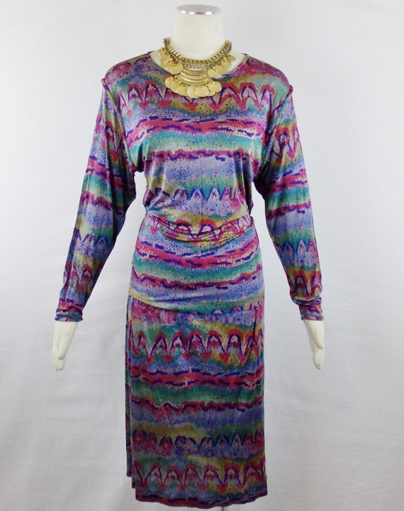 Reduced was 275.00 now 150.00 VINTAGE  MISSONI IKAT Print 2 Piece Draped Top and Skinny Fit Skirt  Silk Jersey Sz 42/6