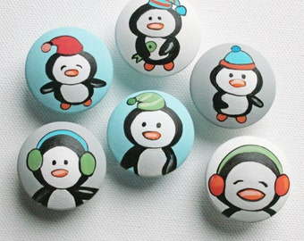 Penguin Drawer Pulls / Dresser Knobs / Closet Handles / Hand Painted for Kids and Nursery Rooms