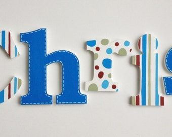 Bold Stripes, Polka Dots & Stitched Wooden Wall Name Letters / Hangings, Hand Painted for Kids Rooms, Play Rooms and Nursery Rooms
