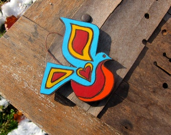 Hand Painted Psychedelic Bird Ornament Three