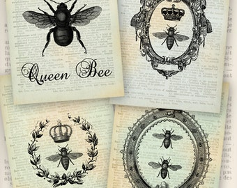 Queen Bee Papers 6 x 4 inch printable images instant download digital collage sheet VDPAVI0891