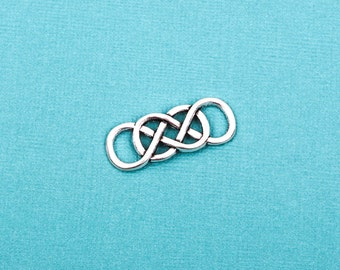 """10 DOUBLE INFINITY Charm Connector Links, silver tone metal, 1-1/4"""" x 1/2"""".  chs1695"""