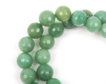 10mm Round Faceted SAGE GREEN JADE Gemstone Beads, full strand gjd0062
