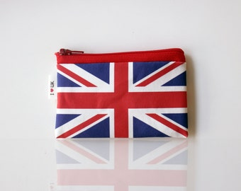 UK flag wallet, British flag zipper pouch with the flag of United Kingdom - comes in Various sizes