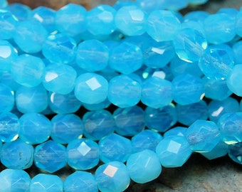 Milky Aquamarine Czech Glass Faceted Bead 6mm Round - 25 Pc