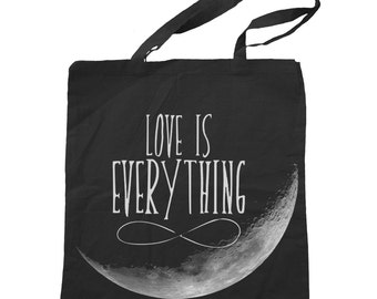 Recycled Canvas Tote Bag Crescent Moon - Love is everything - Eco Friendly