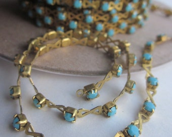 Criss Cross Vintage Turquoise Rhinestone Chain 18 Inches