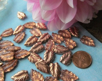 Copper Color Czech Glass Pressed Leaf Bead