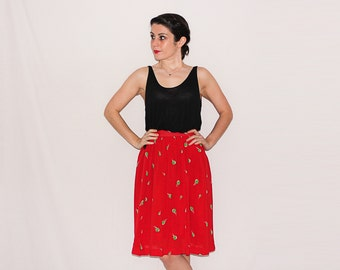 I'm a Norbyah Hanpicked - Vintage Hot Air Balloon Print Red Skirt
