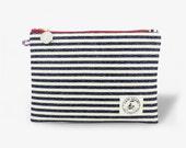 Miss Zip - Zipper Pouch in Navy Nautical Stripes
