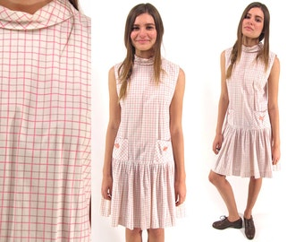 60s Plaid Mod Dress, Drop Waist Dress, Preppy, Cotton Dress, Vintage 60s Scooter Dress, 60s Youthquake Dress Δ size: sm