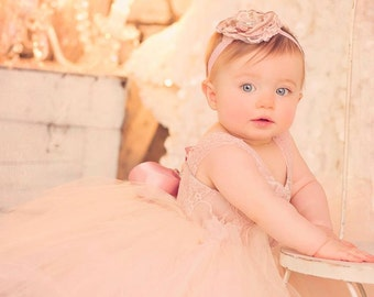 flower girl dress, adorable blush ivory and champagne flower girl tutu dress
