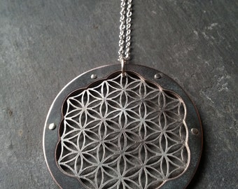Triple Layer Intricate Flower of Life Pendant - oxidised copper and sterling silver - Handcrafted Sacred Geometry Jewellery