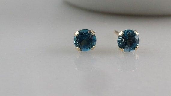 14k Gold London Blue Topaz Gemstone Stud Earrings - 4mm London Blue Topaz Studs