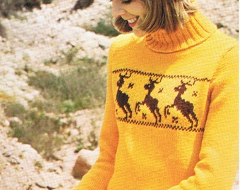 T244 Reindeer Jumper Hat and Mittens Knitting Pattern Vintage