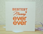 Bestest Nanny Ever Ever Laser Cut Card