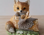 Adorable Fox with Snail Figurine by Homco, Masterpiece Porcelain