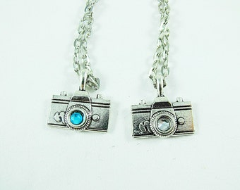 Silver Pendant Necklace,  Cute Vintage Camera Charm With Rhinestones  Womens Gift Handmade