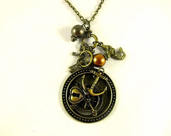 Bronze Pendant Necklace,  Steampunk Nautical Necklace With Pearls And Charms,  Womens Gift  Handmade