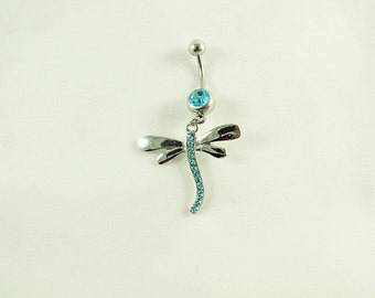 Belly Ring,  Dragonfly With Aqua Blue Rhinestone  Womens  Gift  Handmade