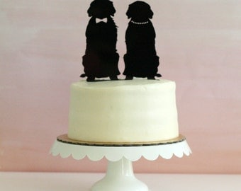 Dog Silhouette Wedding Cake Topper - Golden Retriever, Dog Cake Topper, silhouette cake topper
