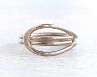 Dark Silver Stylized Ring - Size 5.5