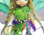 "RESERVED listing Ooak Handmade Polymer Clay Mushroom Fairy Fairie ""Gracelynn"" Tiny Fantasy Art Doll"