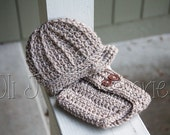 Ready-to-Ship Boy's Brimmed Beanie and Diaper Cover Photo Prop Set - Beige Newborn size