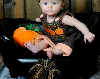 Reversible Brown Pin Dot Faux Smocked Pumpkins/Orange Gingham Turkey  Boy  Longalls-Personalization NOT included