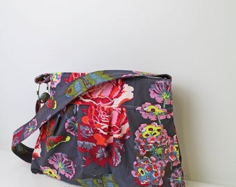 Emma Diaper Bag Medium  Lou Lou Ti Butterflies lined with Pink  Baby Gear Nappy Bag Messenger Bag with Elastic Pockets