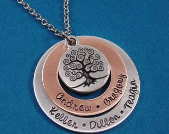 Personalized Necklace Hand Stamped Jewelry - Family Tree Necklace