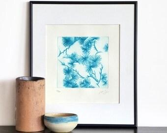 Original Etching Print EUCALYPTUS FLOWERS Botanical Zen Floral Aquatint Printmaking Fine Art Wall Decor Print 10x10