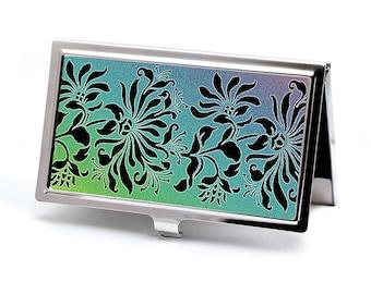 Business Card Case or Credit Card Holder, Victorian style Vintage Floral Art, Handmade Card Case