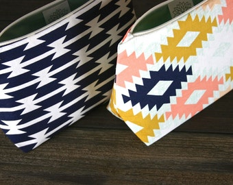 Handmade Gift Set: Mojave Geometric Graphic Makeup Bag Set of Two Cosmetic Bags - Mother's Day Gift