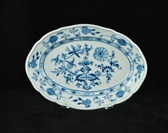 "Antique Meissen 'Blue Onion' German Porcelain 11.25"" Platter - Crossed Swords Mark"