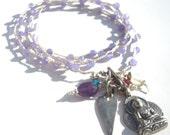 purple jade heart & buddha amulet necklace