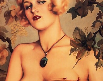 Vintage Pin-Up Girl with Grapes by Alberto Vargas 1900s ~ NEW 8x10 Art Print Reproduction