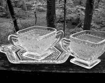 Pressed Glass Creamer and Sugar With Tray, Indiana Glass Sandwich Pattern Creamer and Sugar Set