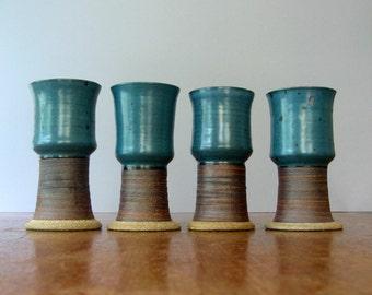 Vintage Victoria Littlejohn Goblets / Vases Signed Studio Pottery