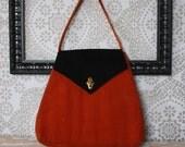 Vintage 1960's Orange and Black Velvet Purse