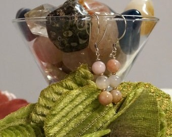 Peruvian Opal and Rose Quartz Earrings
