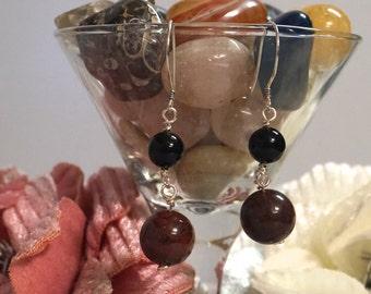 Bloodstone and Onyx Drop Earrings