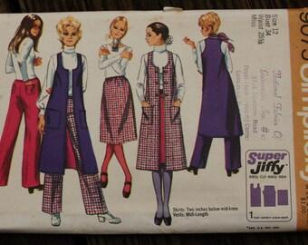 Simplicity 9075 1970s 70s Midi Vest Hip Hugger Pants Skirt Boho Bohemian Hippie Vintage Sewing Pattern Size 12 Bust 34
