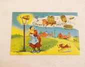 Vintage Postcard 1930s to 1950s Linen Greeting Card Country Music Dinner Bell