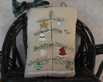 Primitive Folk Art Christmas Tree Wall Hanging Pillow Ornie Hand Painted Holiday Tuck